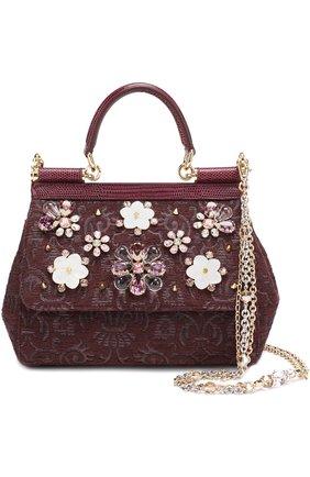 Сумка Sicily smallс отделкой кристаллами Limited edition Dolce & Gabbana бордового цвета | Фото №1