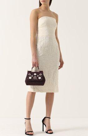 Сумка Sicily smallс отделкой кристаллами Limited edition Dolce & Gabbana бордового цвета | Фото №2