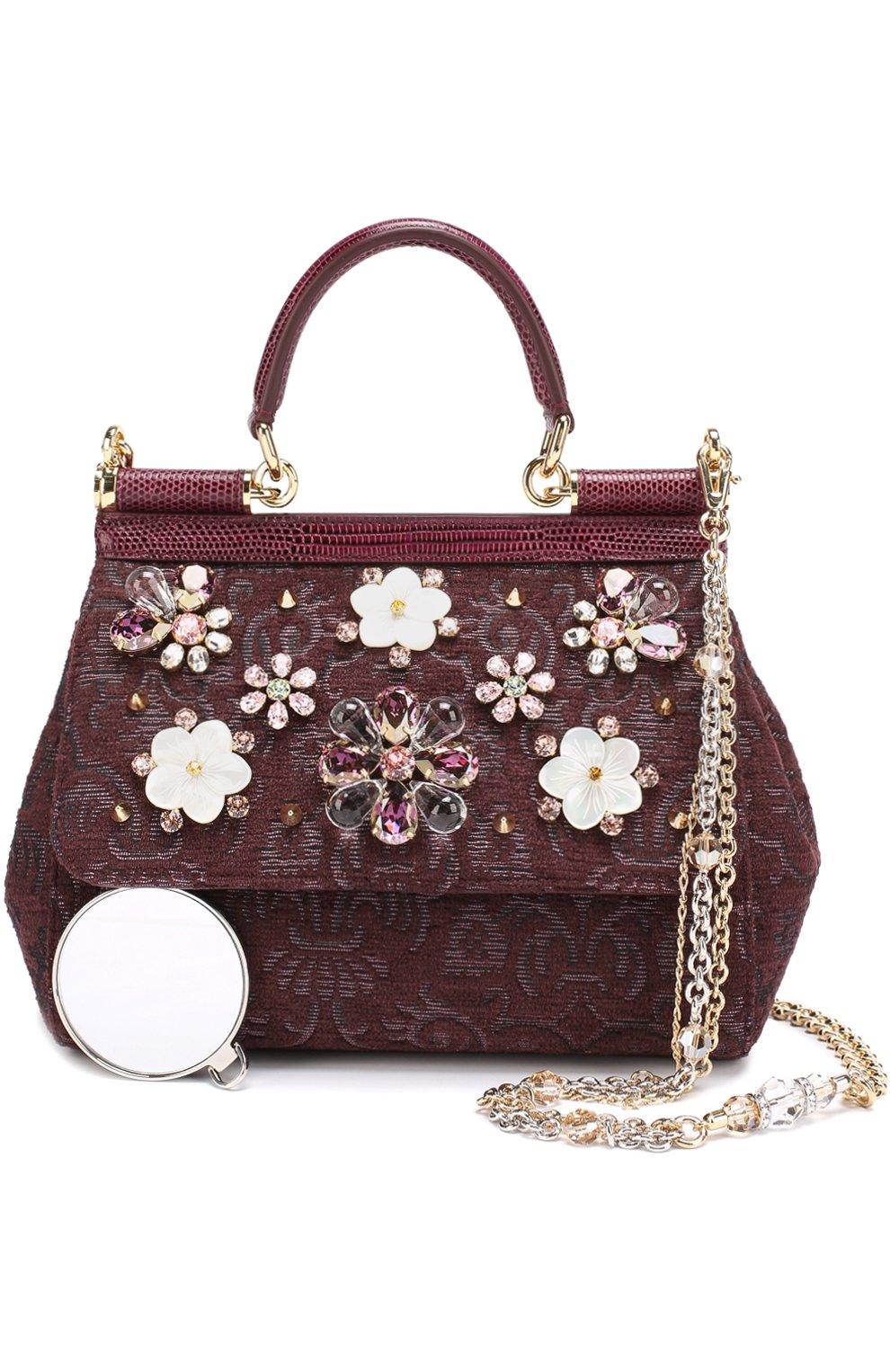 Сумка Sicily smallс отделкой кристаллами Limited edition Dolce & Gabbana бордового цвета | Фото №6