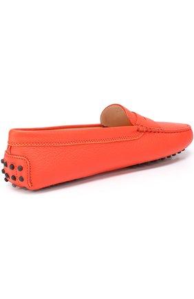 Кожаные мокасины Gommini Tod's оранжевые | Фото №4