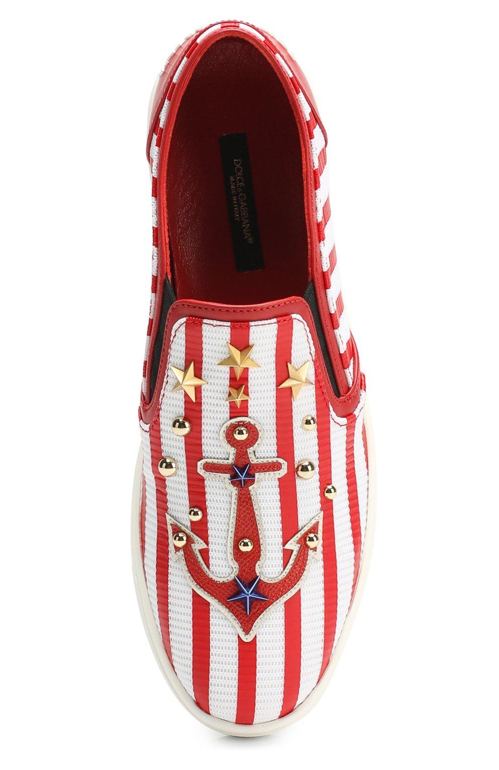 Комбинированные слипоны London с декором Dolce & Gabbana красные | Фото №5