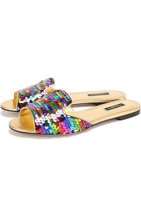 Шлепанцы Bianca с пайетками Dolce & Gabbana разноцветные | Фото №1