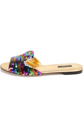 Шлепанцы Bianca с пайетками Dolce & Gabbana разноцветные | Фото №3