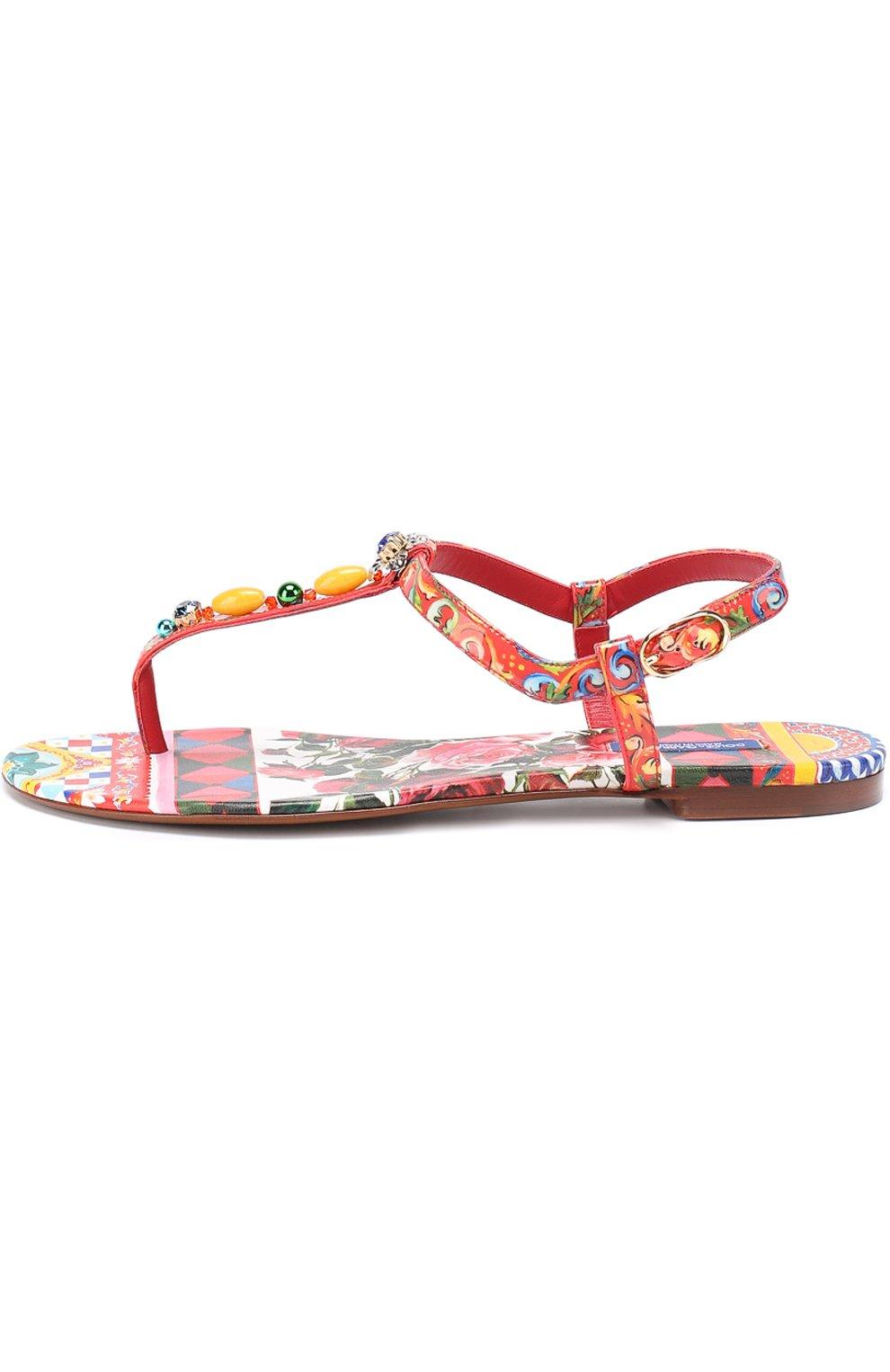 Сандалии с принтом и декором Dolce & Gabbana красные | Фото №2