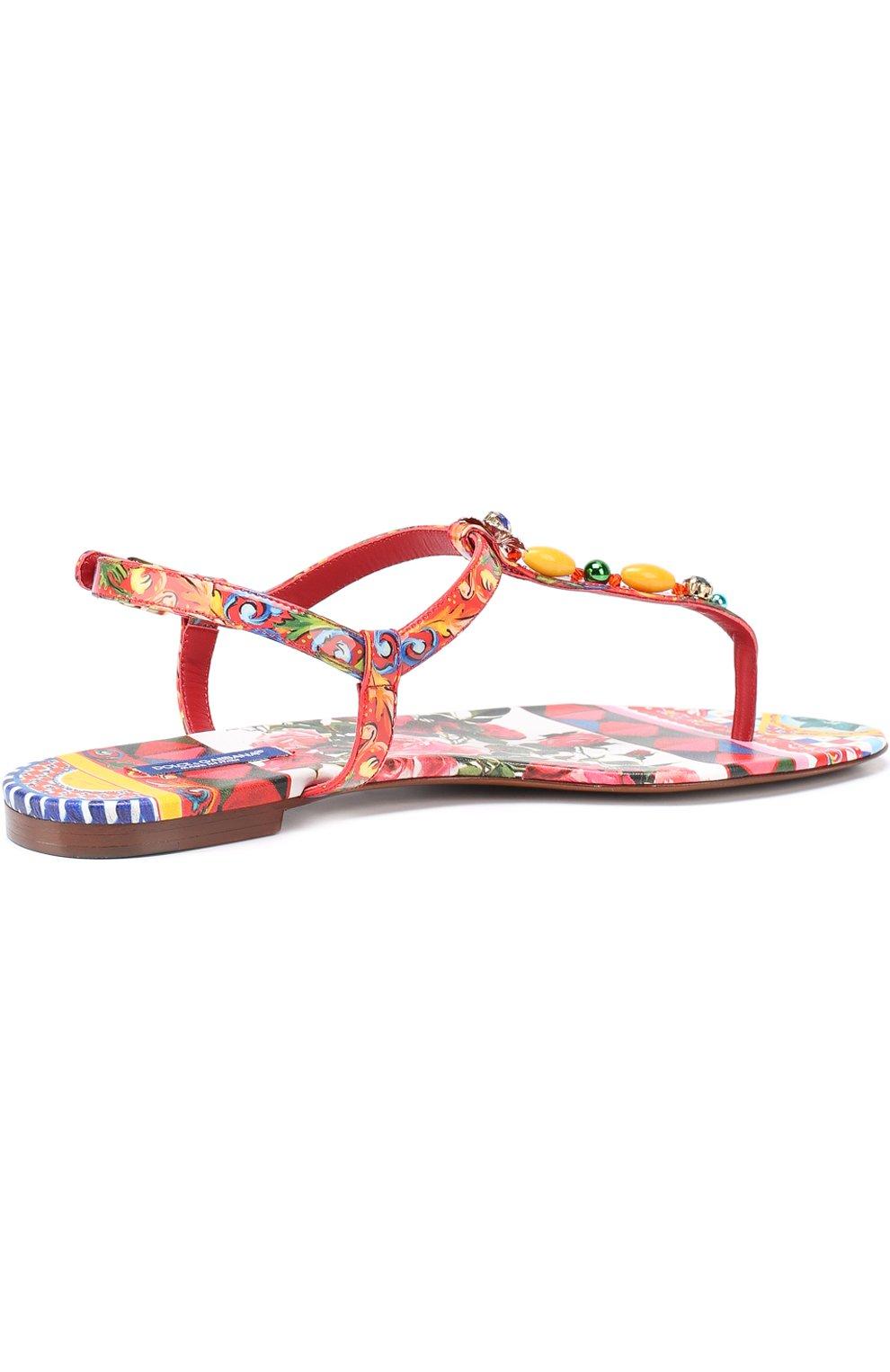 Сандалии с принтом и декором Dolce & Gabbana красные | Фото №3