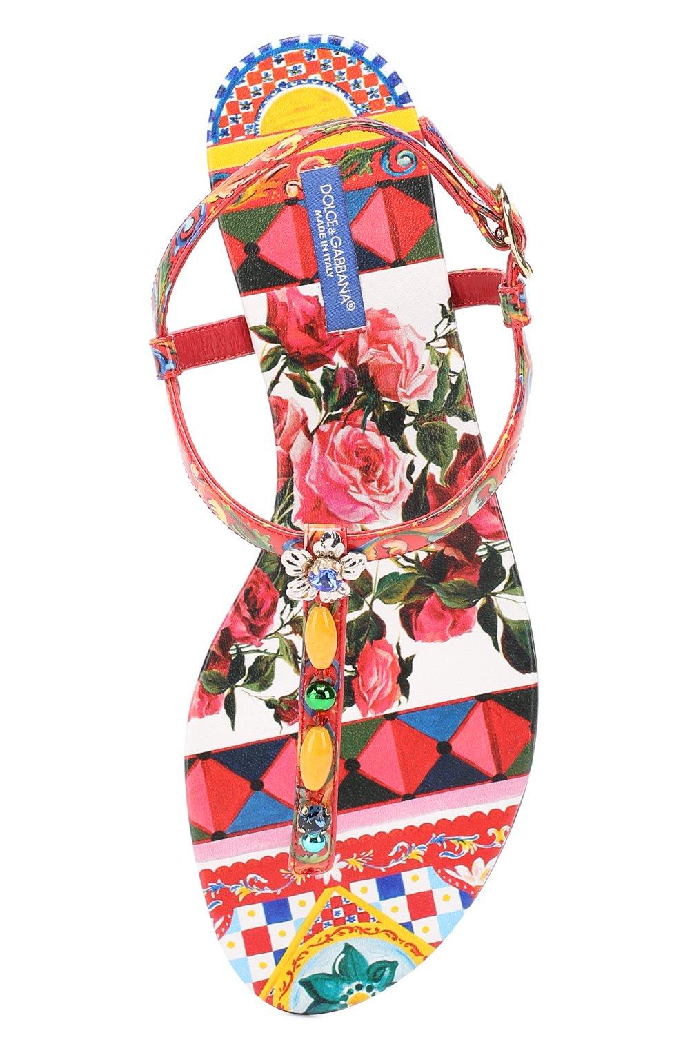 Сандалии с принтом и декором Dolce & Gabbana красные | Фото №4