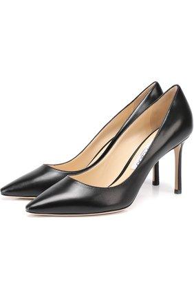 Женская кожаные туфли romy 85  JIMMY CHOO черного цвета, арт. R0MY 85/KID | Фото 1