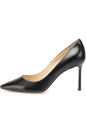 Женская кожаные туфли romy 85  JIMMY CHOO черного цвета, арт. R0MY 85/KID | Фото 2