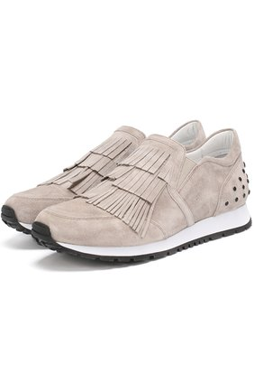 Замшевые кроссовки с бахромой | Фото №1