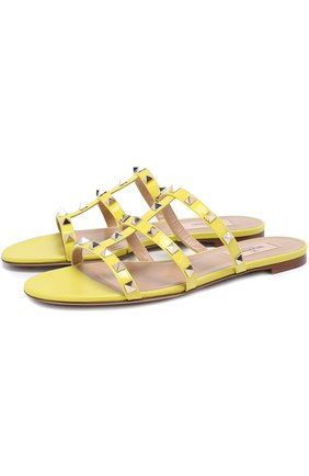 Женские кожаные шлепанцы valentino garavani rockstud VALENTINO желтого цвета, арт. MW0S0C49/VNW   Фото 1