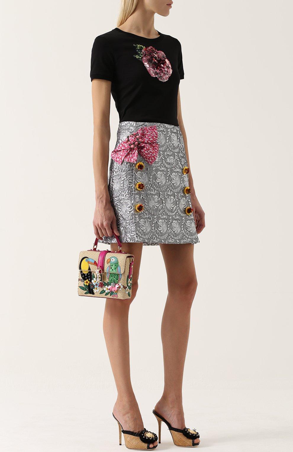 Мюли Keira из соломки с брошью Dolce & Gabbana бежевые   Фото №2