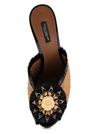 Мюли Keira из соломки с брошью Dolce & Gabbana бежевые   Фото №5