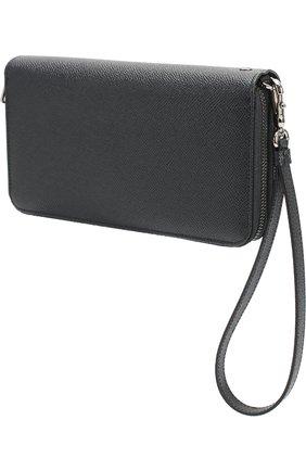 Кожаная борсетка с отделением для документов Dolce & Gabbana темно-синяя | Фото №2