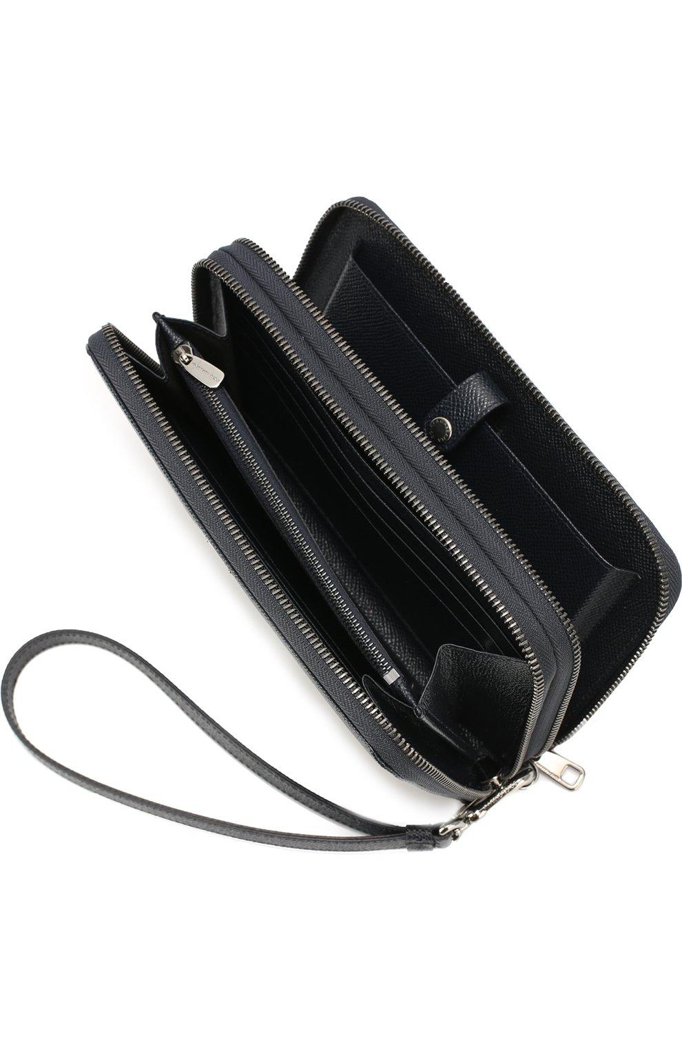 Кожаная борсетка с отделением для документов Dolce & Gabbana темно-синяя | Фото №3