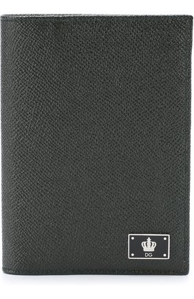 Кожаная обложка для паспорта с отделениями для кредитных карт Dolce & Gabbana зеленого цвета | Фото №1