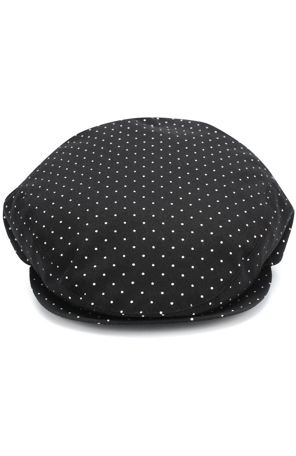 Хлопковое кепи с узором Polka Dot Dolce & Gabbana черного цвета | Фото №3