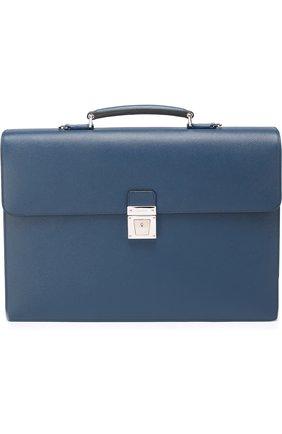 Кожаный портфель с внешним карманом на молнии и плечевым ремнем | Фото №1