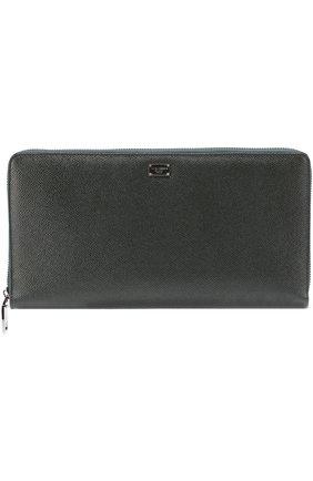 Кожаный бумажник на молнии с отделением для кредитных карт Dolce & Gabbana темно-зеленого цвета | Фото №1