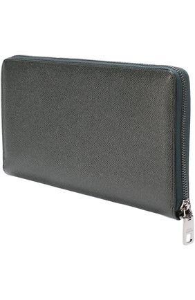 Кожаный бумажник на молнии с отделением для кредитных карт Dolce & Gabbana темно-зеленого цвета | Фото №2