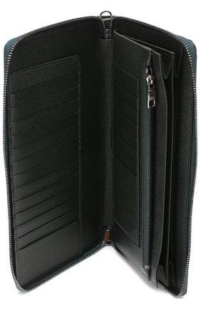 Кожаный бумажник на молнии с отделением для кредитных карт Dolce & Gabbana темно-зеленого цвета | Фото №3