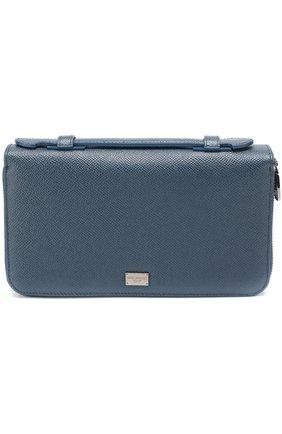 Кожаный футляр для документов с отделениями для кредитных карт и монет Dolce & Gabbana темно-синего цвета   Фото №1