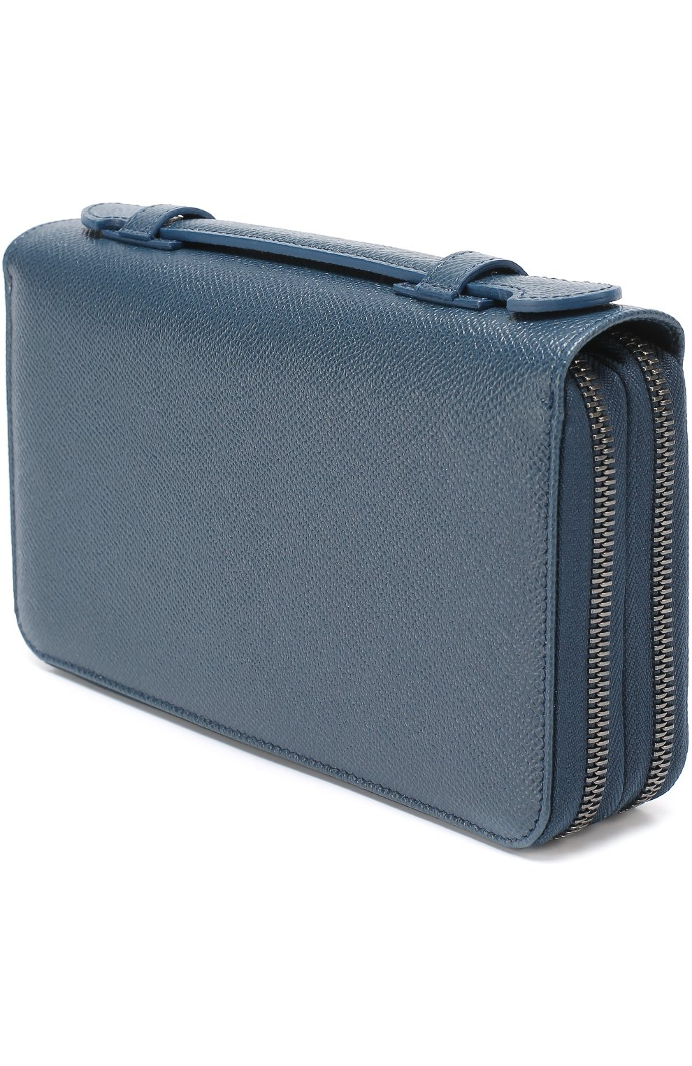 Кожаный футляр для документов с отделениями для кредитных карт и монет Dolce & Gabbana темно-синего цвета   Фото №2