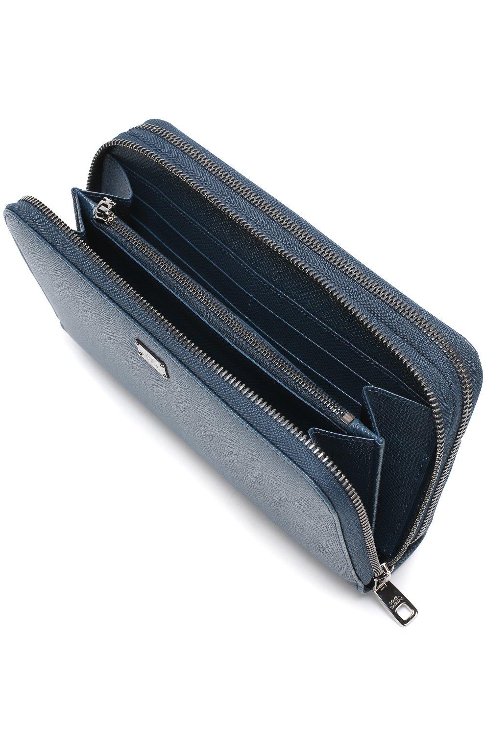 Кожаный футляр для документов с отделениями для кредитных карт и монет Dolce & Gabbana темно-синего цвета   Фото №3