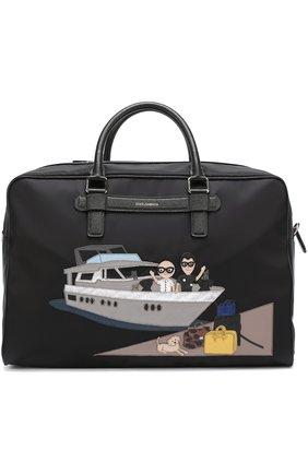 Текстильная дорожная сумка с аппликацией DG Family Dolce & Gabbana черная | Фото №1