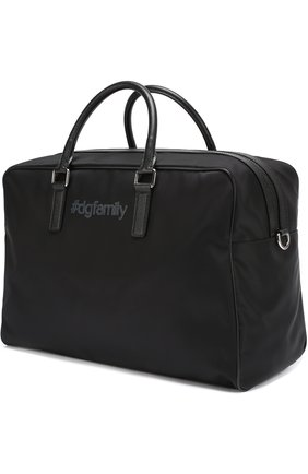 Текстильная дорожная сумка с аппликацией DG Family Dolce & Gabbana черная | Фото №2