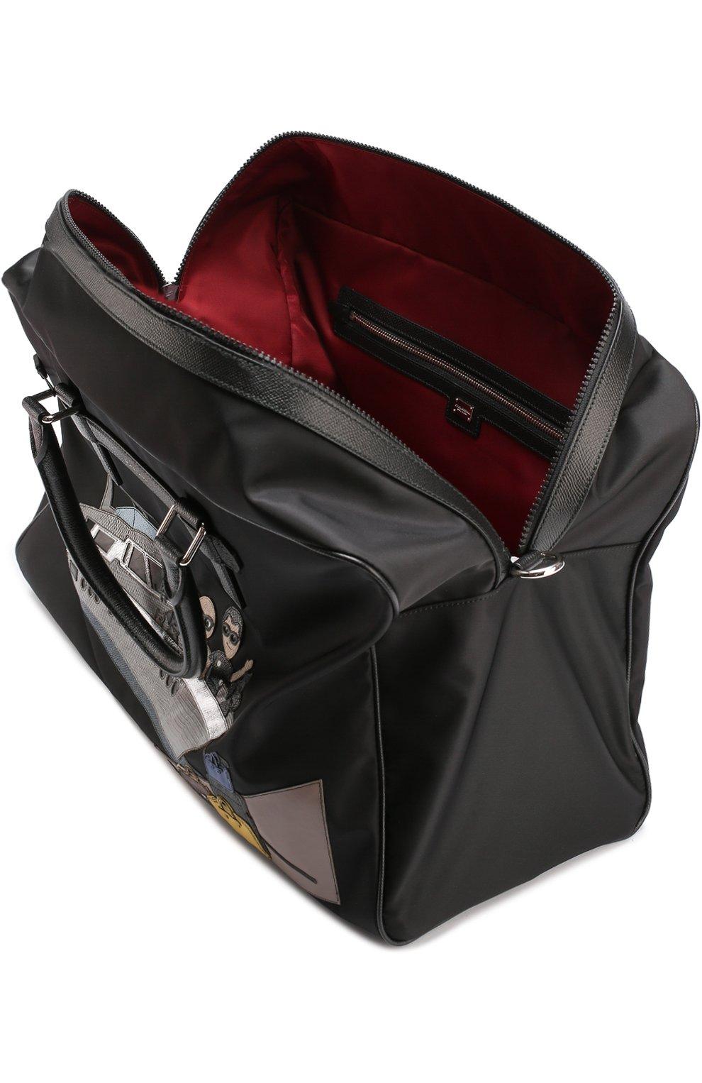 Текстильная дорожная сумка с аппликацией DG Family Dolce & Gabbana черная | Фото №3