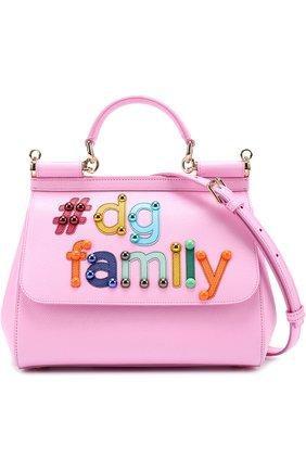 Сумка Sicily medium new с аппликацией DG Family Dolce & Gabbana розовая цвета | Фото №1