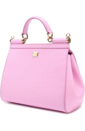 Сумка Sicily medium new с аппликацией DG Family Dolce & Gabbana розовая цвета | Фото №2