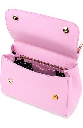 Сумка Sicily medium new с аппликацией DG Family Dolce & Gabbana розовая цвета | Фото №3