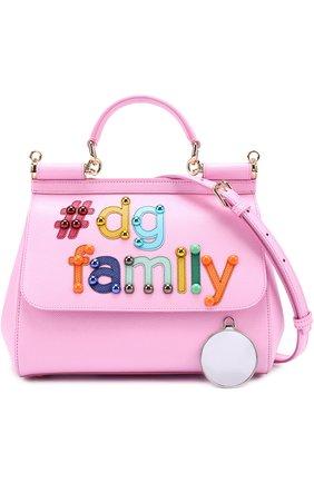 Сумка Sicily medium new с аппликацией DG Family Dolce & Gabbana розовая цвета | Фото №4