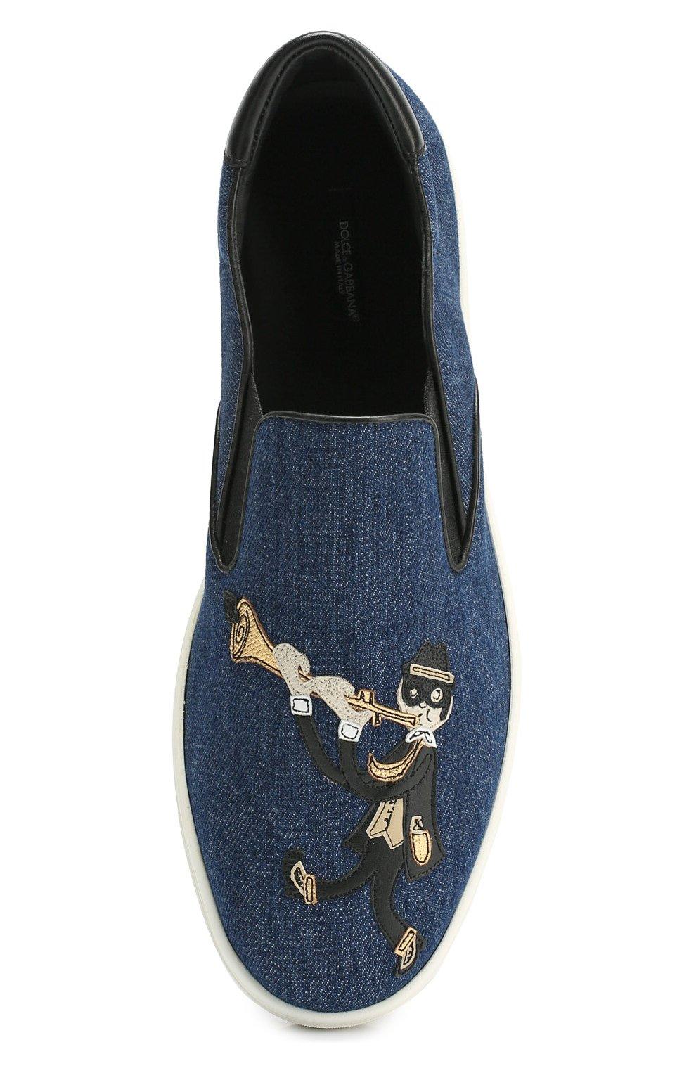Текстильные слипоны London с аппликацией Dolce & Gabbana синие | Фото №5