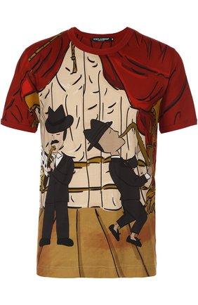 Хлопковая футболка с принтом Dolce & Gabbana красная | Фото №1