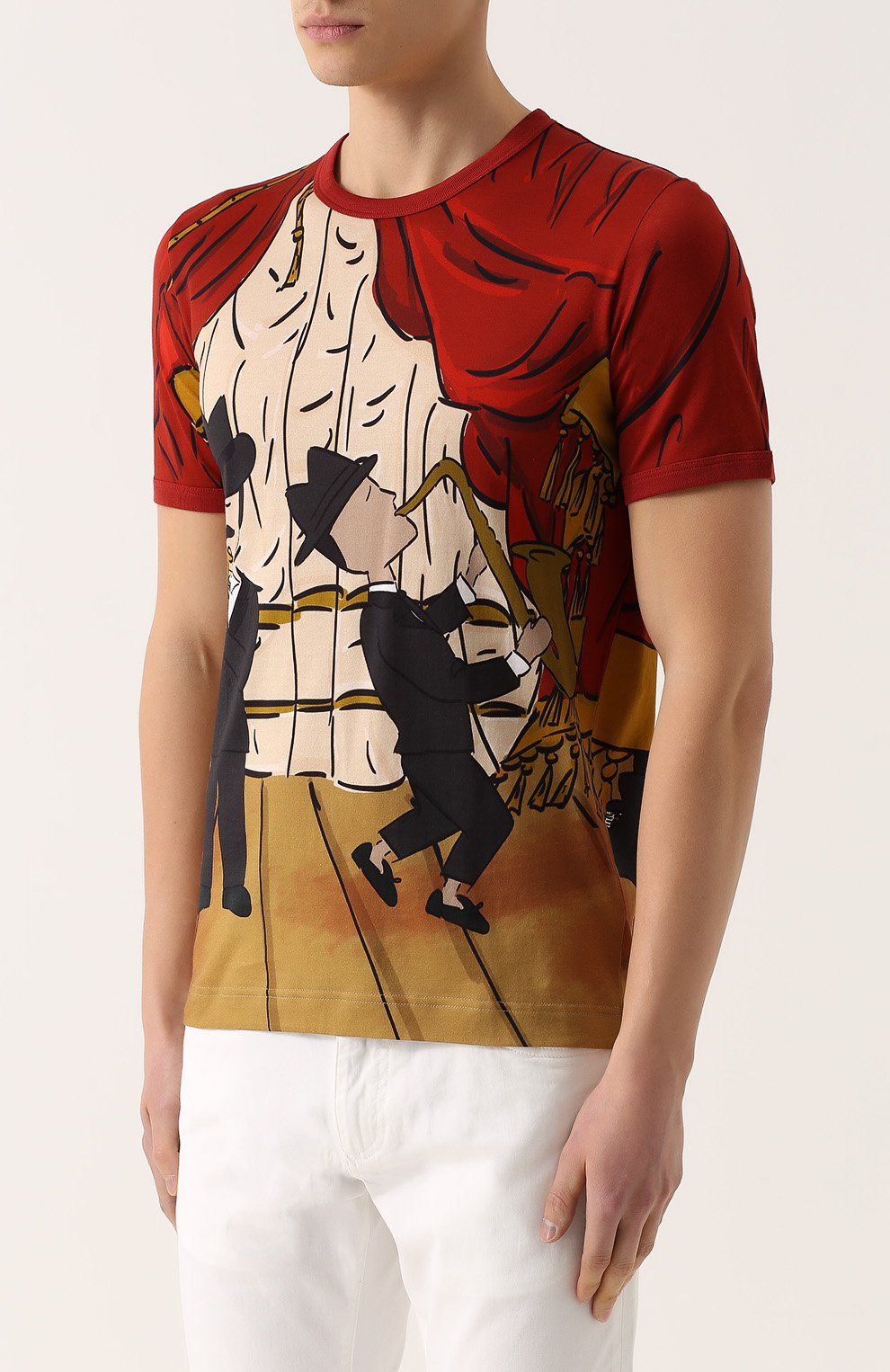 Хлопковая футболка с принтом Dolce & Gabbana красная | Фото №3