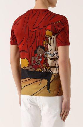 Хлопковая футболка с принтом Dolce & Gabbana красная | Фото №4