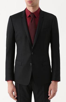 Шерстяной костюм с пиджаком на двух пуговицах Dolce & Gabbana черный | Фото №2