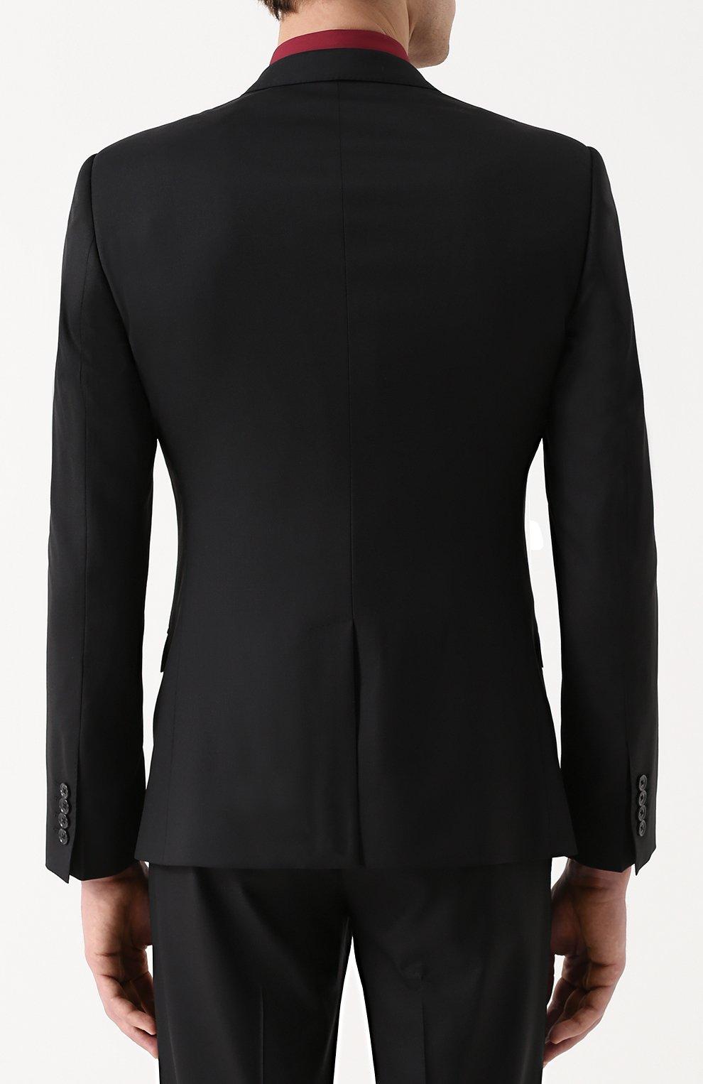Шерстяной костюм с пиджаком на двух пуговицах Dolce & Gabbana черный | Фото №3