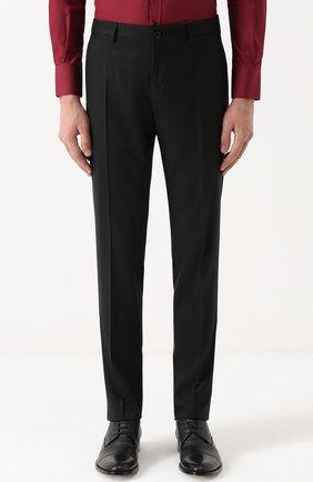 Шерстяной костюм с пиджаком на двух пуговицах Dolce & Gabbana черный | Фото №4