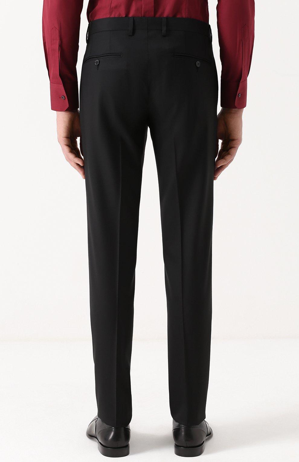 Шерстяной костюм с пиджаком на двух пуговицах Dolce & Gabbana черный | Фото №5