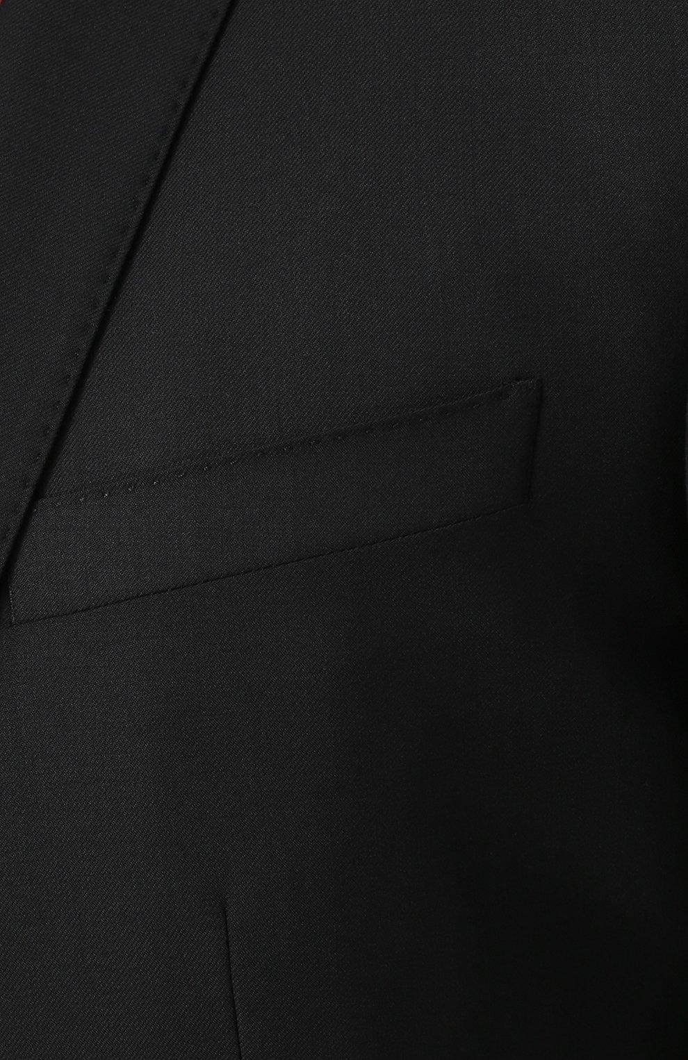 Шерстяной костюм с пиджаком на двух пуговицах Dolce & Gabbana черный | Фото №6