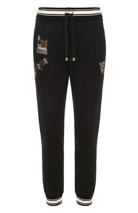 Хлопковые джоггеры с контрастной отделкой и аппликациями Dolce & Gabbana черные   Фото №1