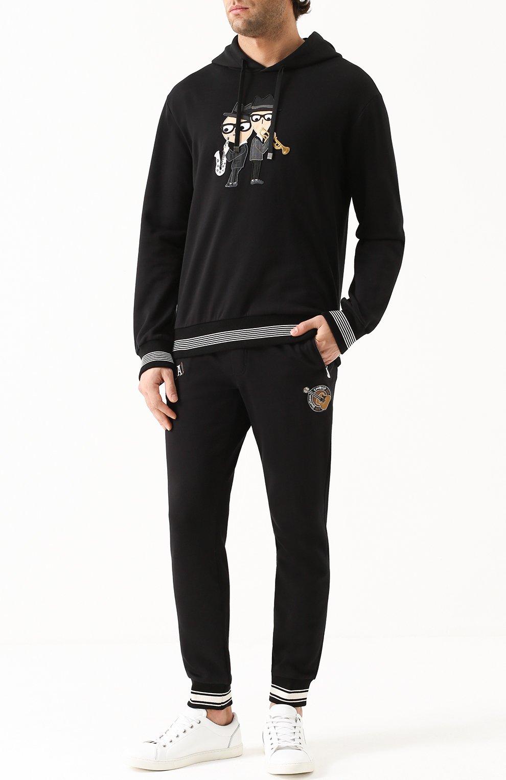 Хлопковые джоггеры с контрастной отделкой и аппликациями Dolce & Gabbana черные   Фото №2