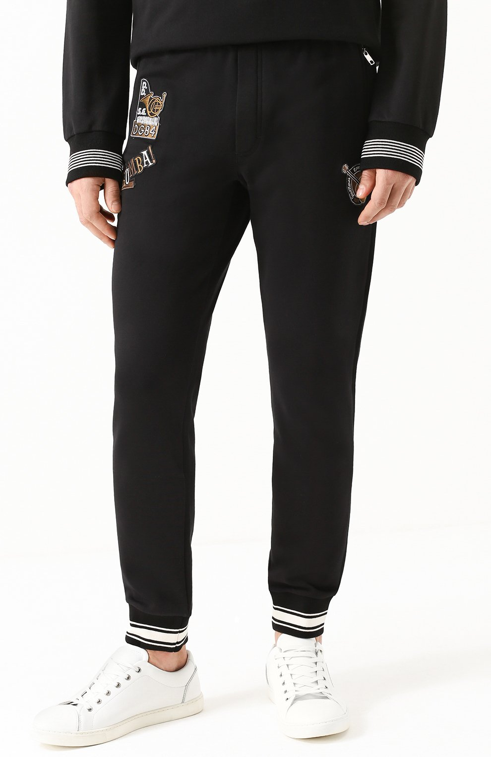 Хлопковые джоггеры с контрастной отделкой и аппликациями Dolce & Gabbana черные   Фото №3