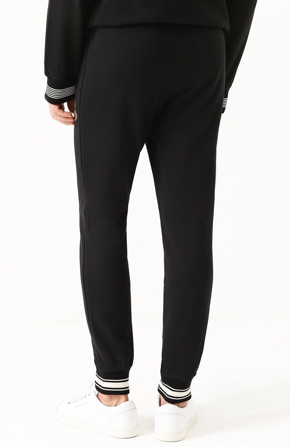 Хлопковые джоггеры с контрастной отделкой и аппликациями Dolce & Gabbana черные   Фото №4