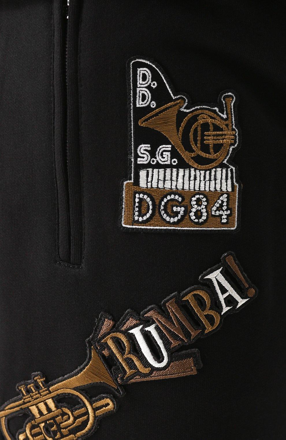 Хлопковые джоггеры с контрастной отделкой и аппликациями Dolce & Gabbana черные   Фото №5