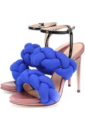 Босоножки с плетеными ремешками на шпильке Marco de Vincenzo синие | Фото №1