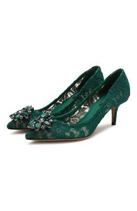 Женские текстильные туфли rainbow lace DOLCE & GABBANA темно-зеленого цвета, арт. 0112/CD0066/AL198 | Фото 1